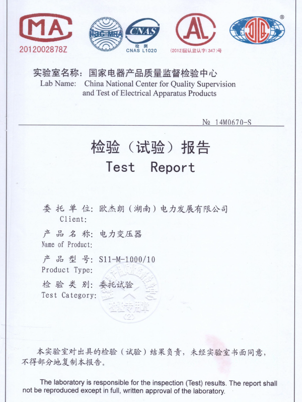 S11-M-1000/10检验(试验)报告-1
