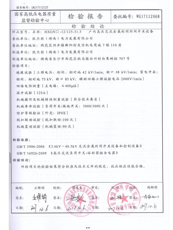 HXGN□-12/125-31.5检验报告-2