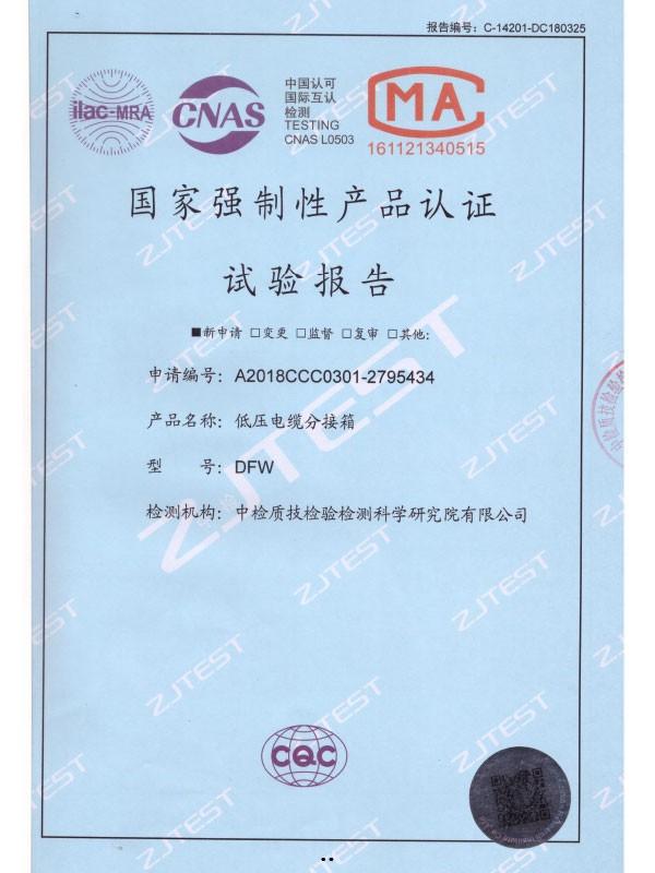 DFW国家强制性产品认证试验报告